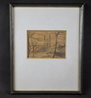 """Zbigniew Kaliszczak (1903-1985), """"Wilno – most"""", sucha igła, 1930 r."""