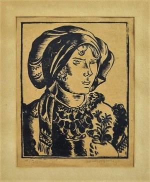 """Wacław Wąsowicz (1891-1942), """"Hucułka"""", 1925 r. drzeworyt;"""