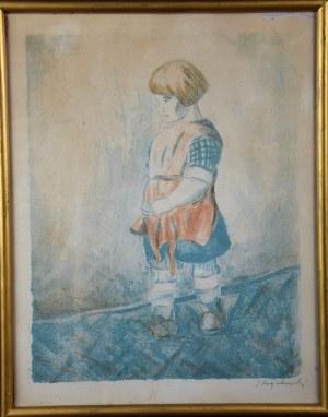 """Jan Piotr Hrynkowski (1891-1971), """"Dziewczynka"""", litografia, 1923 r."""