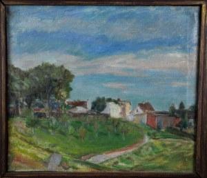 """Wacław Twarowski (1921-1995), """"Pejzaż wiejski – widok na sad"""", lata 40-te."""