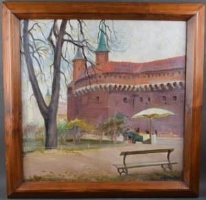 """Stanisław Paciorek (1889-1952), """"Kraków – Planty przy Barbakanie"""", 1927 r."""