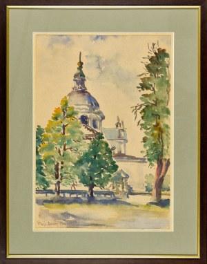 Maria BLOMBERG-MROZOWSKA (1883-1956), Pejzaż z kościołem w dali
