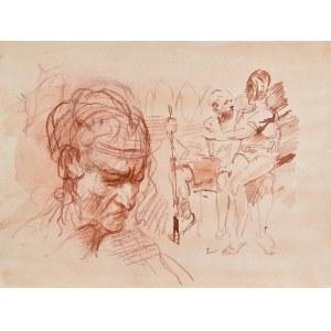 Dariusz KALETA Dariuss (ur. 1960), Szkic mężczyzny z figurką w rękach
