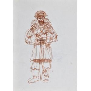 Dariusz KALETA Dariuss (ur. 1960), Dwa szkice: popiersie mężczyzny oraz mężczyzna siedzący na krześle z kobietą na kolanach