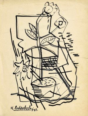 Kazimierz PODSADECKI (1904-1970), Kwiat w doniczce, 1948
