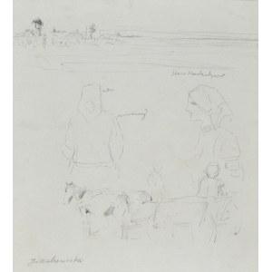 Jacek MALCZEWSKI (1854-1929), Szkice różne: szkic pejzażu, wieśniaczek oraz koni zaprzęgnietych w wóz