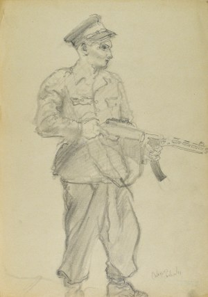 Kasper POCHWALSKI (1899-1971), Żołnierz z karabinem, 1953