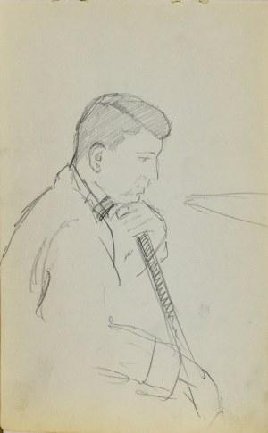 Stanisław ŻURAWSKI (1889-1976), Szkic siedzącego mężczyzny podpartego laską