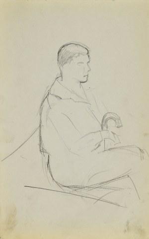 Stanisław ŻURAWSKI (1889-1976), Szkic siedzącego mężczyzny trzymającego laskę