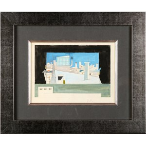 """Jerzy Nowosielski (1923-2011), Projekt scenografii do sztuki teatralnej Tennessee Williamsa """"Kotka na gorącym blaszanym dachu"""""""