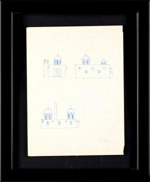 Jerzy Nowosielski (1923-2011), Szkice architektury sakralnej - praca dwustronna