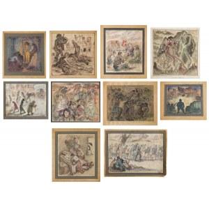 Michał GAWLAK (1906 - 1971), Zestaw 10 rysunków z cyklu