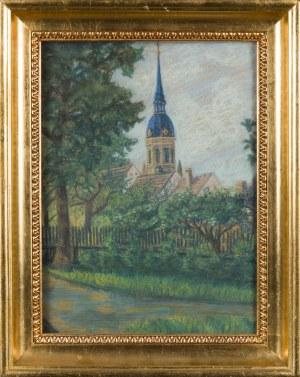Autor nieokreślony, XX w., Pejzaż z kościołem