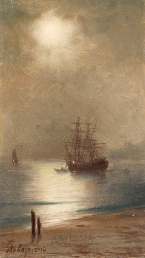 Iwan K. Ajwazowski (1817-1900) ?, Nokturn z żaglowcem