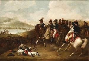 Autor nierozpoznany (XIX w.), Napoleon Bonaparte ze sztabem - scena z kampanii napoleońskiej, 1 poł. XIX w.