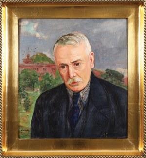 Wlastimil Hofman (1881-1970), Portret mężczyzny na tle kopca Kościuszki, lata 30-te XX w.