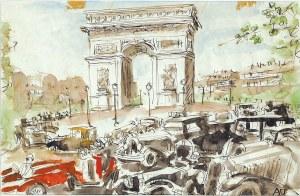 Antoni Uniechowski (1903-1976), Automobile wokół Łuku Triumfalnego w Paryżu