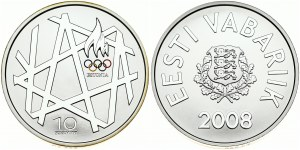 Estonia 10 Krooni 2008 Olympics. Obverse: Arms. Reverse: Torch and geometric patterns. Silver. KM 48. With Box ...