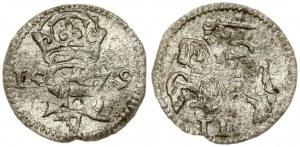 Latvia Courland 2 Denar 1579. Stephen Bathory(1576–1586). Obverse: Stephen monogram; dividing date. Lettering: AB 15-79...