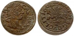 Lithuania 1 Solidus 1665 GFH Kaunas. John II Casimir Vasa (1649–1668). Obverse: Laureate head of Johann Casimir right...