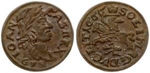 Lithuania 1 Solidus 1666 GFH Kaunas. John II Casimir Vasa (1649–1668). Obverse: Laureate head of Johann Casimir right...