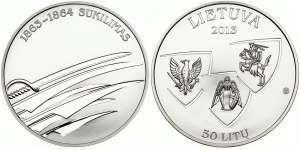Lithuania 50 Litų 2013 Uprising of 1863-64. Obverse: Three shields. Reverse: Swords. Silver. KM 197. With Box ...