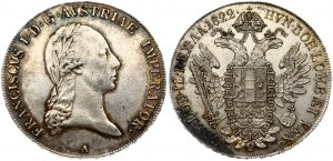 Austria 1 Thaler 1822A Franz II (I) (1792-1835 ). Obverse: Laureate head right. Reverse: Crowned imperial double eagle...