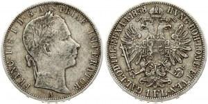 Austria 1 Florin 1858A Franz Joseph I(1848-1916). Obverse: Laureate head right. Reverse: Crowned imperial double eagle...