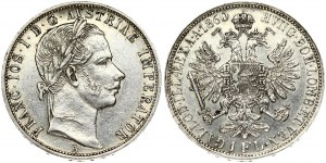 Austria 1 Florin 1860A Franz Joseph I(1848-1916). Obverse: Laureate head right. Reverse: Crowned imperial double eagle...