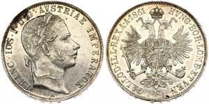 Austria 1 Florin 1861A Franz Joseph I(1848-1916). Obverse: Laureate head right. Reverse: Crowned imperial double eagle...