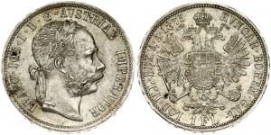 Austria 1 Florin 1875 Franz Joseph I(1848-1916). Obverse: Laureate head right. Reverse: Crowned imperial double eagle...