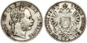 Austria 1 Florin 1877 Franz Joseph I(1848-1916). Obverse: Laureate head right. Reverse: Crowned imperial double eagle...