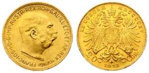 Austria 20 Corona MDCCCCXV 1915 Restrike. Franz Joseph I(1848-1916). Obverse: Head of Franz Joseph I; right. Reverse...