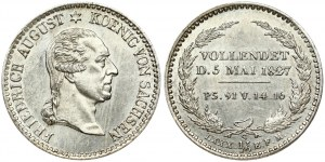 Germany SAXONY 1/6 Thaler 1827 S Death of King Friedrich August. Friedrich August I(1763-1827). Obverse: Head right...