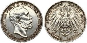 Germany SCHWARZBURG-SONDERSHAUSEN 3 Mark 1909A Death of Karl Gunther. Karl Günther (1880-1909). Obverse: Head right...