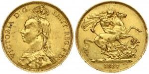 Great Britain 2 Pounds 1887. Victoria 1837-1901. Gold