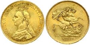 Great Britain 5 Pounds 1887. Victoria 1837-1901. Gold