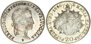 Hungary 20 Krajczar 1846B Ferdinand V(1835-1848). Obverse: Laureate head; right. Obverse Legend: FERD. I. Reverse...