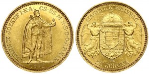 Hungary 20 Korona 1892KB Franz Joseph I(1848-1916). Obverse: Emperor standing. Reverse...