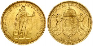 Hungary 20 Korona 1893KB Franz Joseph I(1848-1916). Obverse: Emperor standing. Reverse...