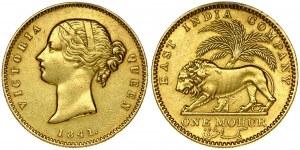 India-British 1 Mohur 1841 Victoria(1837-1901). Obverse: Head left; dot on truncation. Obverse Legend: VICTORIA QUEEN...