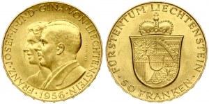Liechtenstein 50 Franken 1956 Franz Josef II and Princess Gina. Prince Franz Josef II(1938-1989). Obverse...