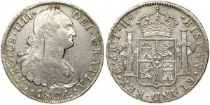 Mexico 8 Reales 1804 TH Charles IV(1788-1808). Obverse: Armored bust of Charles IIII right. Obverse Inscription...