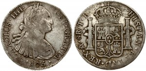 Mexico  8 Reales 1805 TH Charles IV(1788-1808). Obverse: Armored bust of Charles IIII; right. Obverse Inscription...