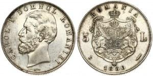 Romania 5 Lei 1880B Carol I(1866-1914). Obverse: Head left. Obverse Legend: CAROL I DOMNUL AL ROMANIEI. Reverse...