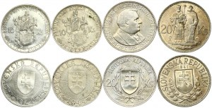 Slovakia 10 & 20 Korun (1939-1944). Obverse: Double cross on shield within wreath flanked by value. Reverse: Head right...