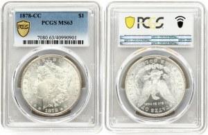 USA 1 Dollar 1878 CC 'Morgan Dollar' Carson City. Obverse: Liberty head; facing left. Lettering...