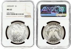 USA 1 Dollar 1878 8TF 'Morgan Dollar' Philadelphia. Obverse: Liberty head; facing left. Lettering...