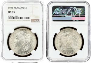 USA 1 Dollar 1921 'Morgan Dollar' Philadelphia. Obverse: Liberty head; facing left. Lettering: E·PLURIBUS·UNUM LIBERTY...