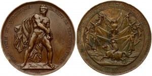 Poland Medal November Uprising 1832 Geneva. Obverse: Naked man breaking the chains...